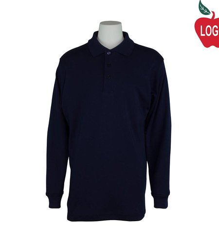 Elder Size Youth Small Navy Blue Long Sleeve Interlock Polo #5671