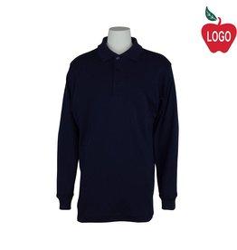Elder Youth Medium Navy Blue Long Sleeve Interlock Polo #5671