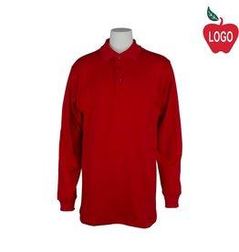 Elder Youth Medium Red Long Sleeve Interlock Polo #5671