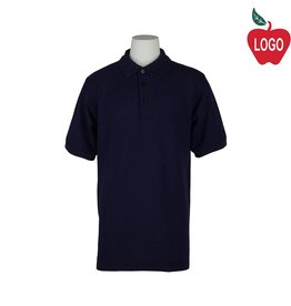 Elder Adult Large Navy Blue Short Sleeve Pique Polo #5738