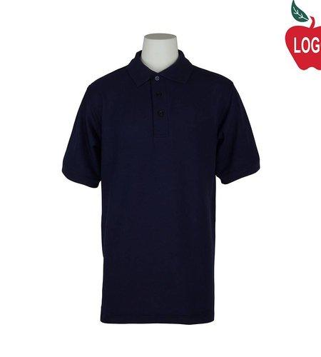 Elder Adult Large Navy Blue Short Sleeve Pique Polo #5738