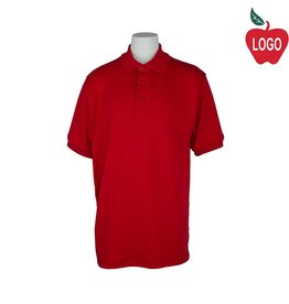 Elder Adult Small Red Short Sleeve Interlock Polo #5771