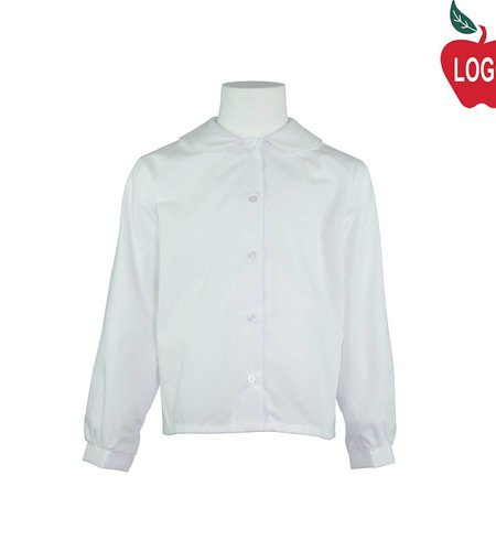 Elder White Long Sleeve Peter Pan Blouse #5413