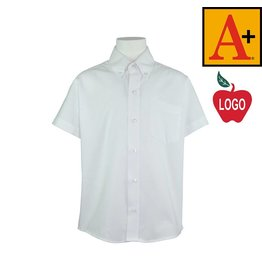 School Apparel A+ Size Adult Small White Short Sleeve Oxford Shirt #8061