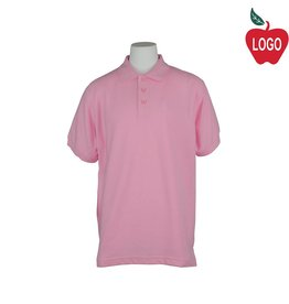 Universal Pink Pique Polo with Black Logo #U838