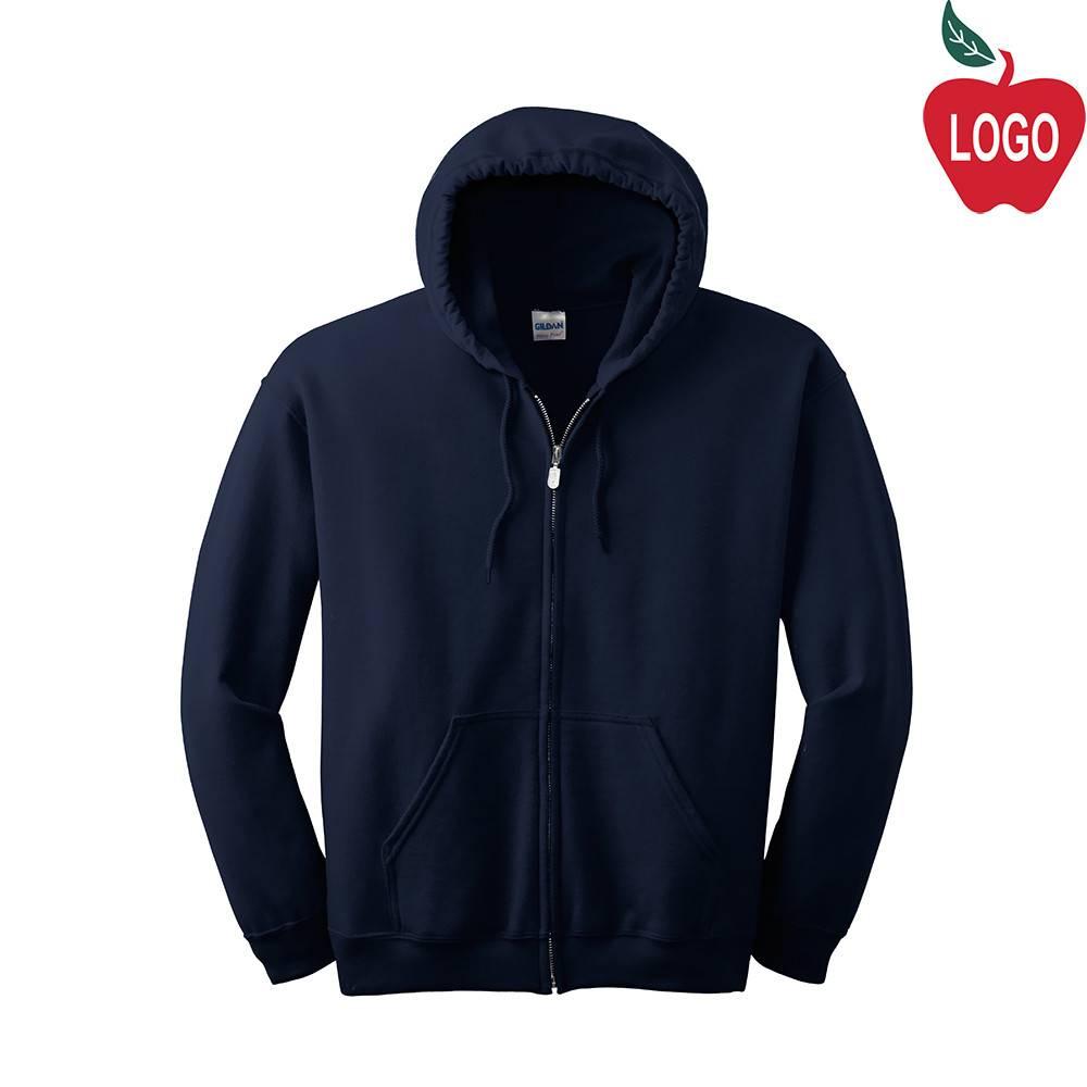 Navy Blue Full Zip Hood Sweatshirt  18600 - Merry Mart Uniforms f2df94ded49
