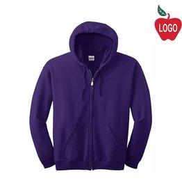 Gildan Purple Full Zip Hood Sweatshirt #18600