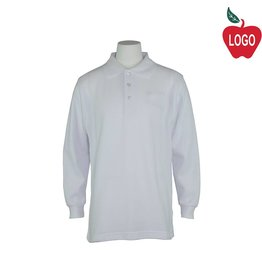 Universal White Long Sleeve Pique Polo #U840