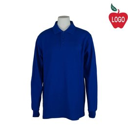 School Apparel A+ Royal Blue Long Sleeve Pique Polo #U840