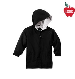 Port Authority Black Hooded Nylon Jacket #JP56