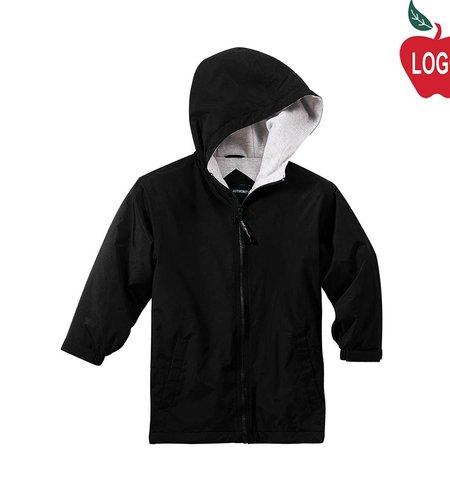 Port Authority Black Hooded Nylon Jacket #JP56