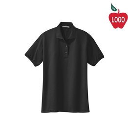 Port Authority Ladies Black Short Sleeve Pique Polo #L500
