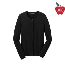 Port Authority Ladies Black Cardigan Sweater #LSW287