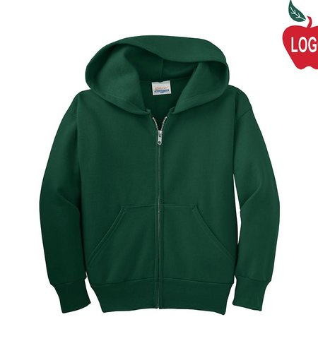 Hanes Green Full Zip Hooded Sweatshirt #P480