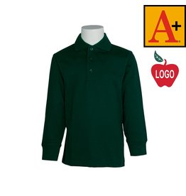 School Apparel A+ Green Long Sleeve Jersey Polo #8326