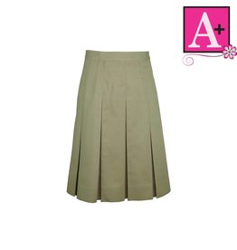 School Apparel A+ Khaki Twill Box Pleat Skirt #1943BS