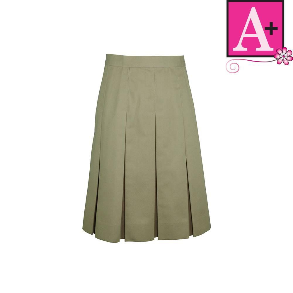 98ded672703e60 Khaki Twill Box Pleat Skirt #1943BS - Merry Mart Uniforms