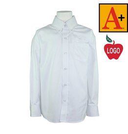 School Apparel A+ White Long Sleeve Oxford Shirt #8196