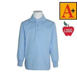 School Apparel A+ Light Blue Long Sleeve Interlock Polo #8326
