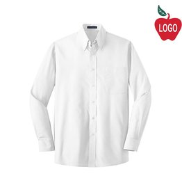 Port Authority Mens White Long Sleeve Dress Shirt #W100