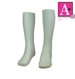 School Apparel A+ White Cotton Cable Sock #127