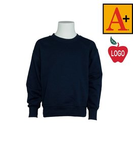 School Apparel A+ Youth X-Large Navy Blue Crew-neck Sweatshirt #6254