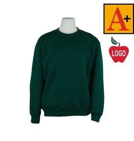 School Apparel A+ Youth X-Small Green Crew-neck Sweatshirt #6254