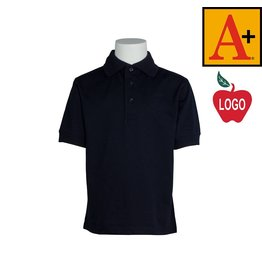 School Apparel A+ Navy Blue Short Sleeve Interlock Polo #8320