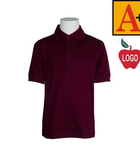 School Apparel A+ Wine Short Sleeve Interlock Polo #8320
