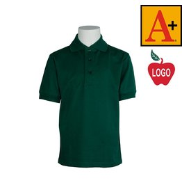 School Apparel A+ Green Short Sleeve Interlock Polo #8320