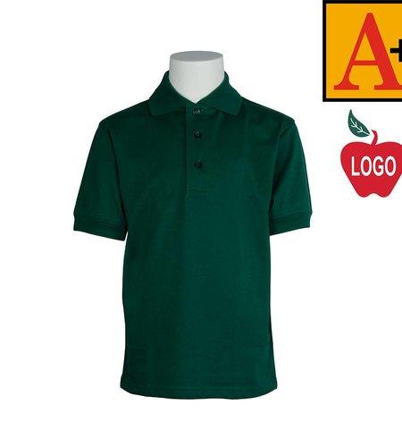 School Apparel A+ Green Short Sleeve Interlock Polo #8320