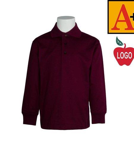 School Apparel A+ Wine Long Sleeve Interlock Polo #8326