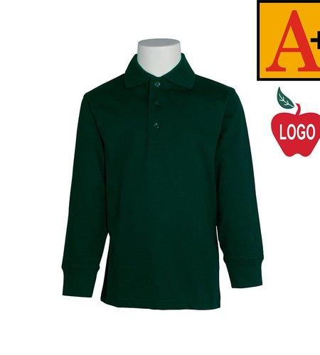 School Apparel A+ Green Long Sleeve Interlock Polo #8326