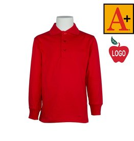 School Apparel A+ Red Long Sleeve Interlock Polo #8326
