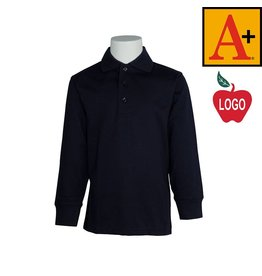 School Apparel A+ Navy Blue Long Sleeve Interlock Polo #8326