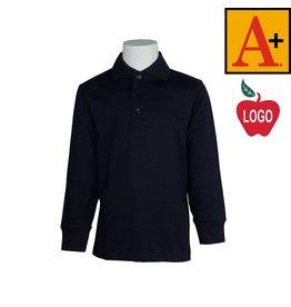 School Apparel A+ Navy Blue Long Sleeve Interlock Polo #8326
