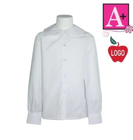 School Apparel A+ White Long Sleeve Peter Pan Blouse #9366