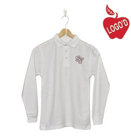 Elder White Long Sleeve Pique Polo #5639