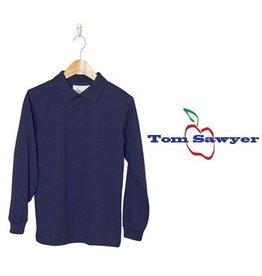 Elder Navy Blue Long Sleeve Interlock Polo #5671