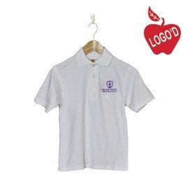 School Apparel A+ White Shortsleeve Interlock Polo #8432