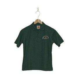 School Apparel A+ Green Short Sleeve Pique Polo with Cross Logo #8760