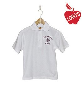 School Apparel A+ White Short Sleeve Pique Polo with retired logo #8760