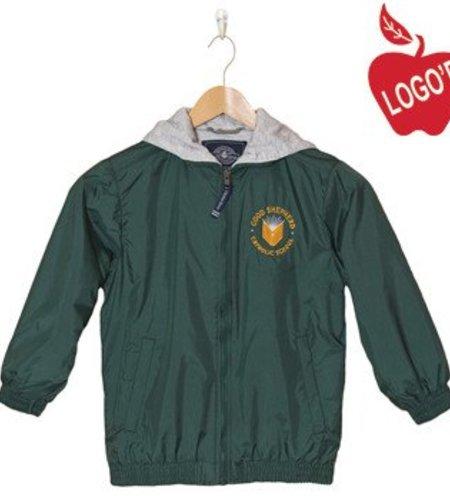 Charles River Size 6 Green Hooded Nylon Jacket #8921