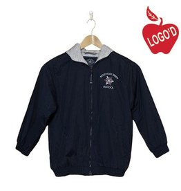 Charles River Navy Hood Jacket with Arched Logo #8921