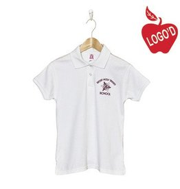 School Apparel A+ White Shortsleeve Interlock Polo with Arched Logo #9605