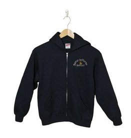 Russell Navy Blue Full Zip Hooded Sweatshirt