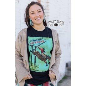Crazy Train Women's Fabulous Las Vegas Bucking T-Shirt Size Large