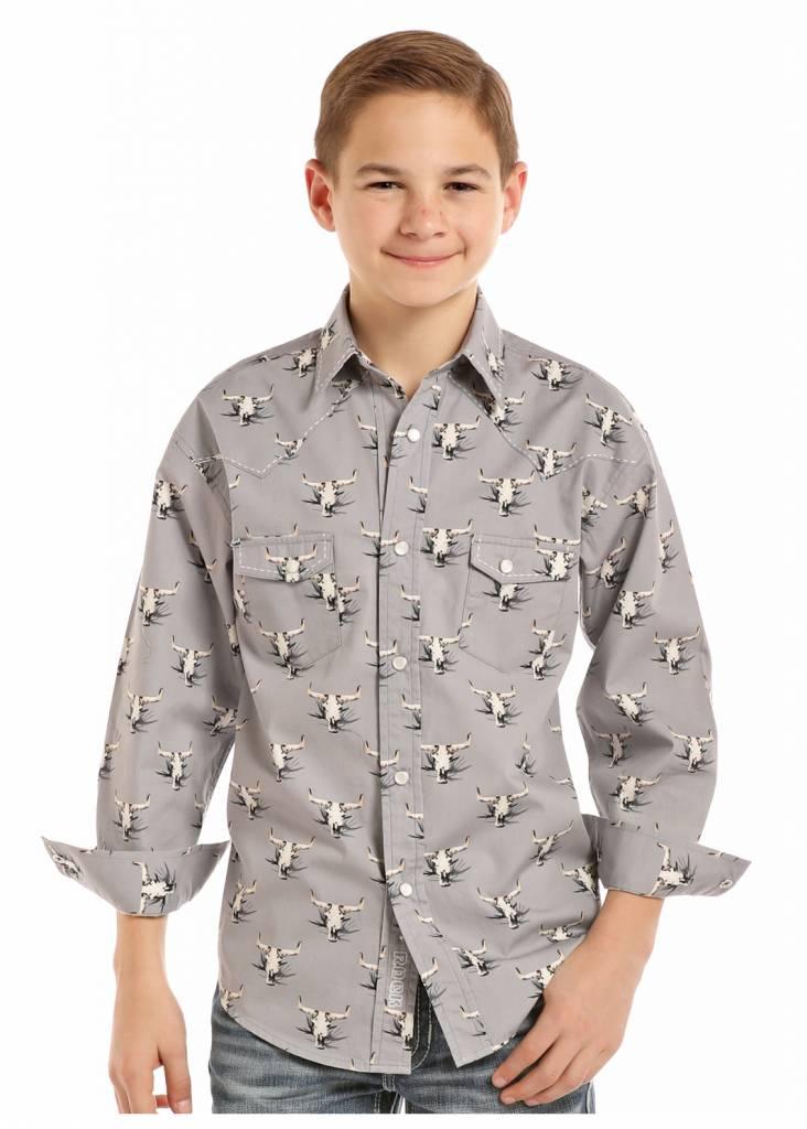 080045e535ad0 Boy s Rock   Roll Cowboy Snap Front Shirt B8S8016
