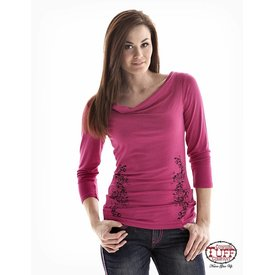 Cowgirl Tuff Women's Pink Blouse with Black Webbed Back 2XL