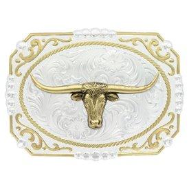 Montana Silversmiths Gold Longhorn Steer Western Buckle